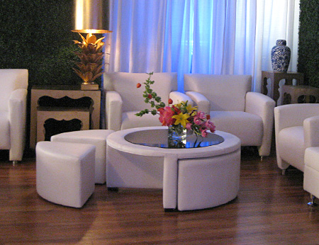 Rental World L Party Center L Modern White Vinyl Coffee Table With - Cocktail table with 4 stools
