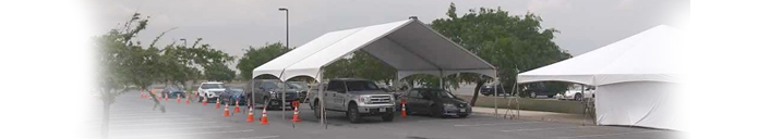 Tents Available for drive up and drive through testing - we offer medical tent rentals for COVID-19 Drive-Thru Screening and Testing, Infirmary & Triage Tents, Temporary Shelters, Emergency Catering Tents, Food Pick-up, and more.